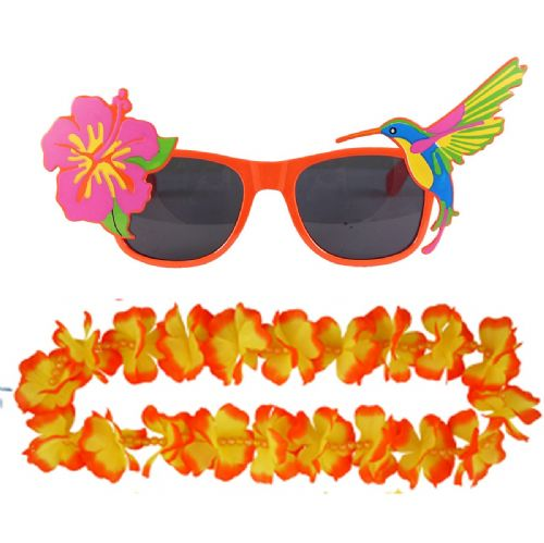 Adult Orange Hawaiian Lei & Glasses Fancy Dress Set for Mens & Ladies Summer Costume